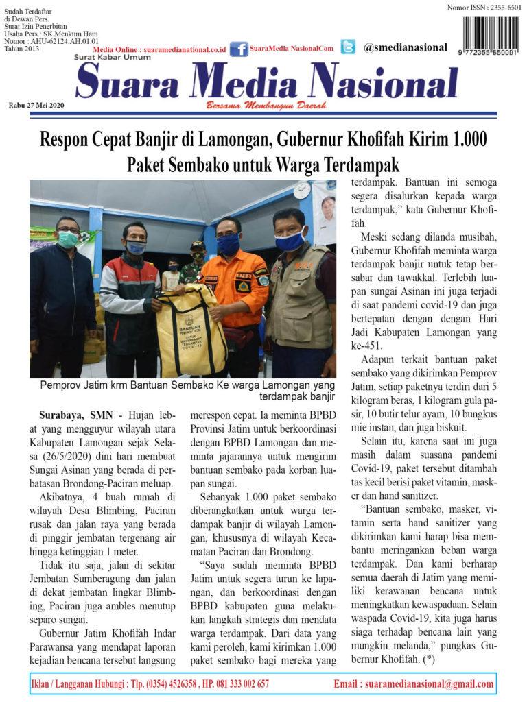 Respon Cepat Banjir di Lamongan, Gubernur Khofifah Kirim 1.000 Paket Sembako untuk Warga Terdampak