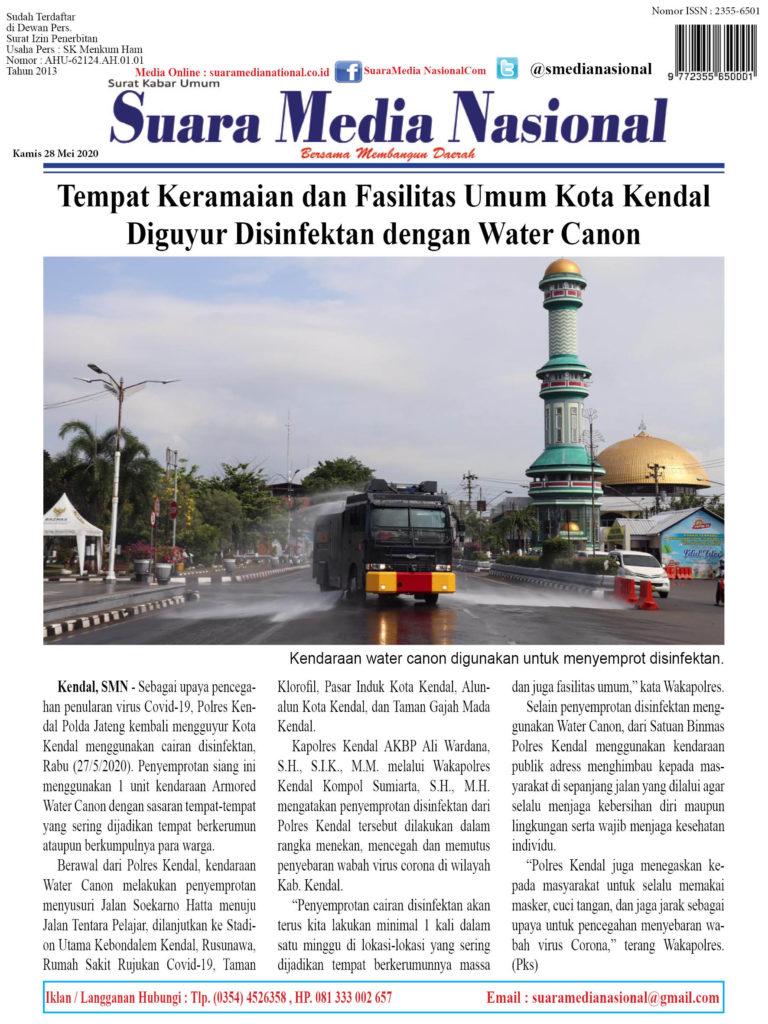 Tempat Keramaian dan Fasilitas Umum Kota Kendal  Diguyur Disinfektan dengan Water Canon