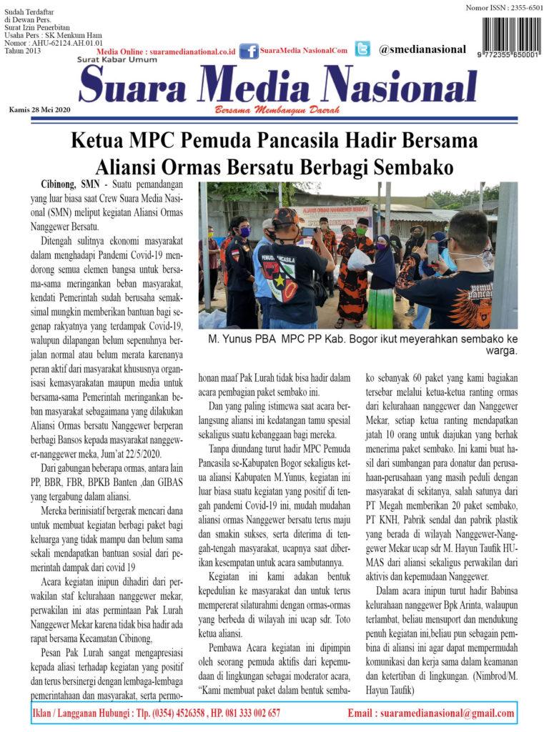 Ketua MPC Pemuda Pancasila Hadir Bersama  Aliansi Ormas Bersatu Berbagi Sembako