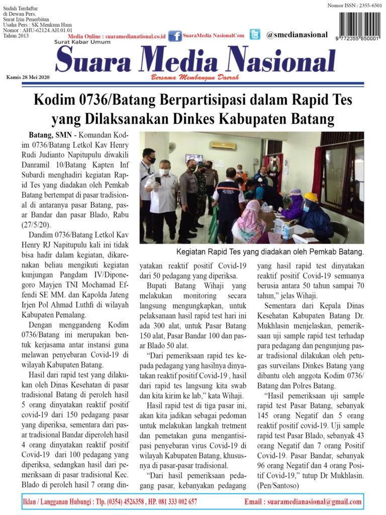 Kodim 0736/Batang Berpartisipasi dalam Rapid Tes yang Dilaksanakan Dinkes Kabupaten Batang