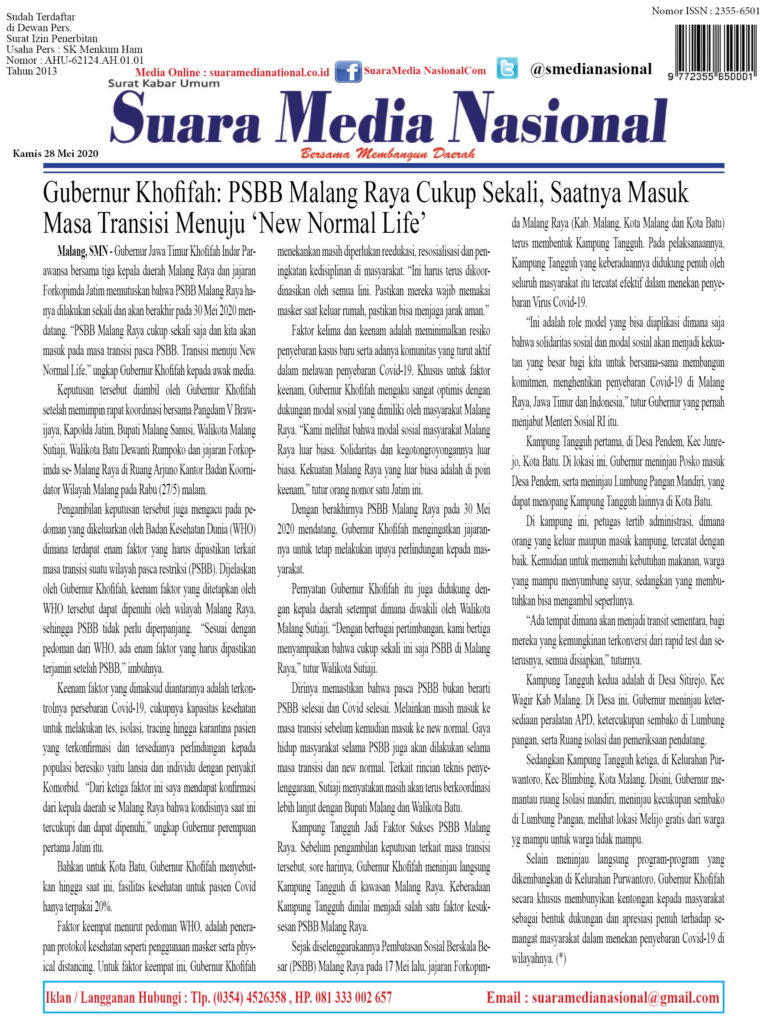 Gubernur Khofifah: PSBB Malang Raya Cukup Sekali, Saatnya Masuk Masa Transisi Menuju 'New Normal Life'