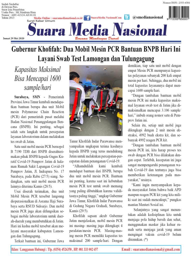 Gubernur Khofifah: Dua Mobil Mesin PCR Bantuan BNPB Hari Ini Layani Swab Test Lamongan dan Tulungagung