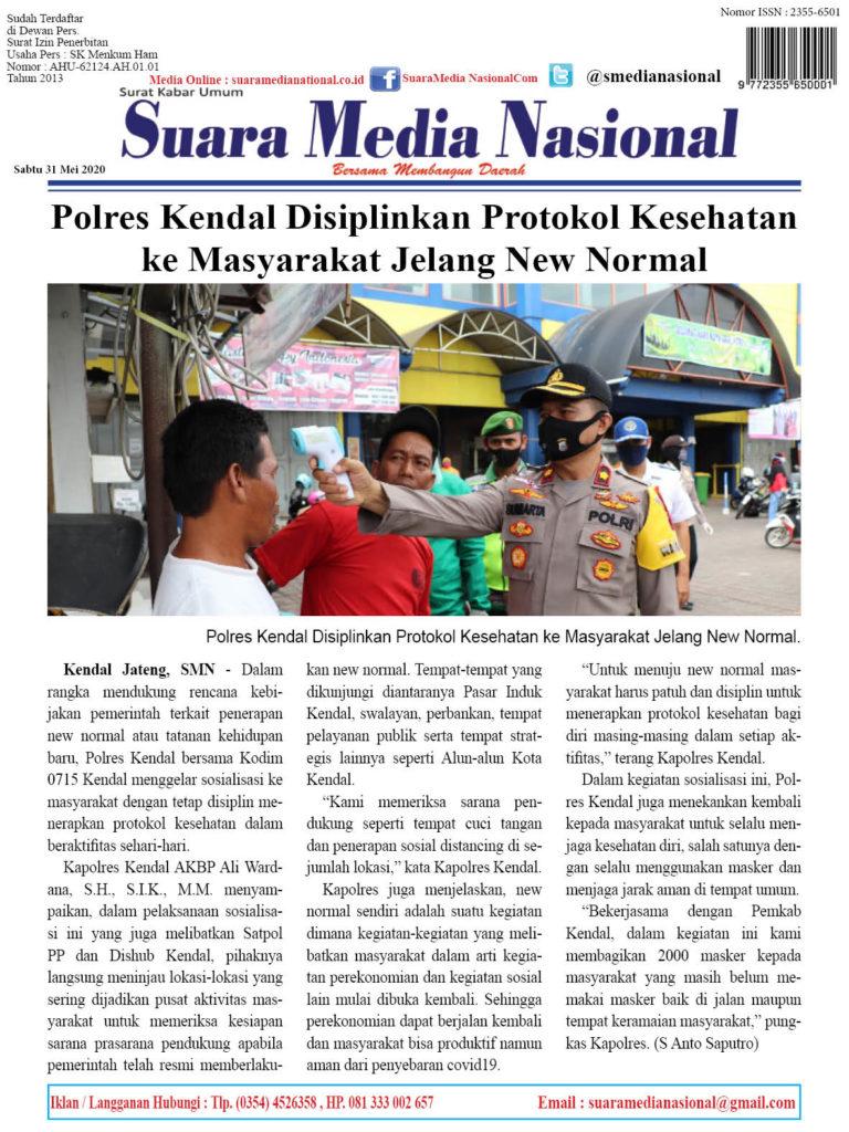 Polres Kendal Disiplinkan Protokol Kesehatan ke Masyarakat Jelang New Normal