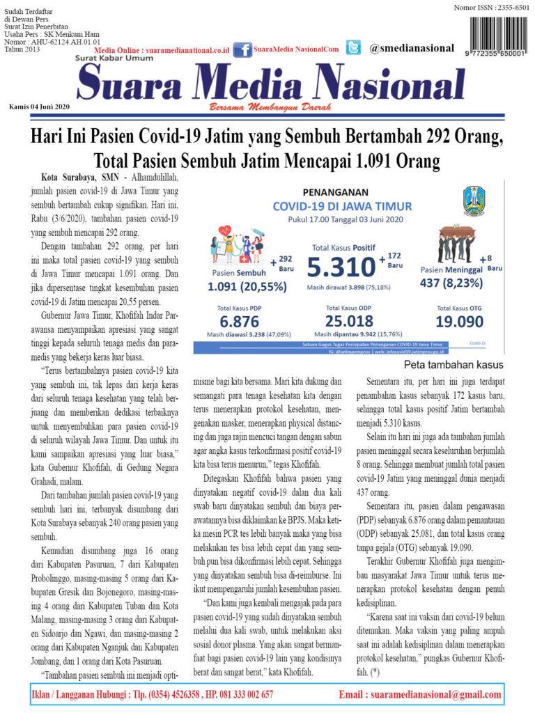 Hari Ini Pasien Covid-19 Jatim yang Sembuh Bertambah 292 Orang, Total Pasien Sembuh Jatim Mencapai 1.091 Orang