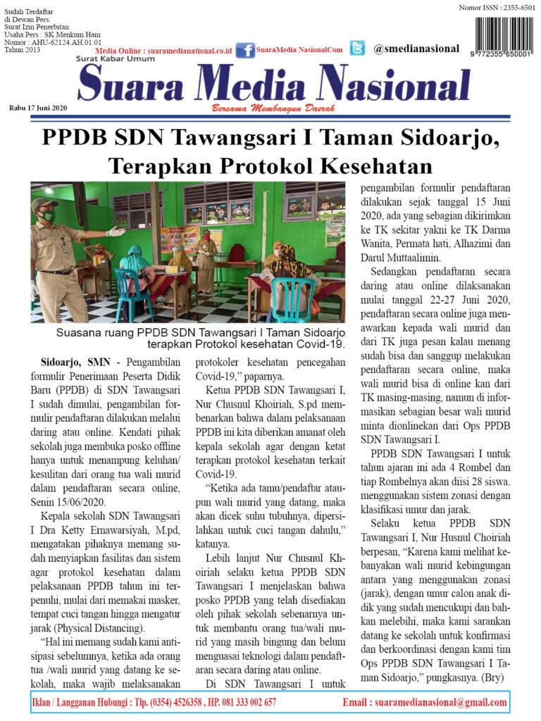 PPDB SDN Tawangsari I Taman Sidoarjo, Terapkan Protokol Kesehatan