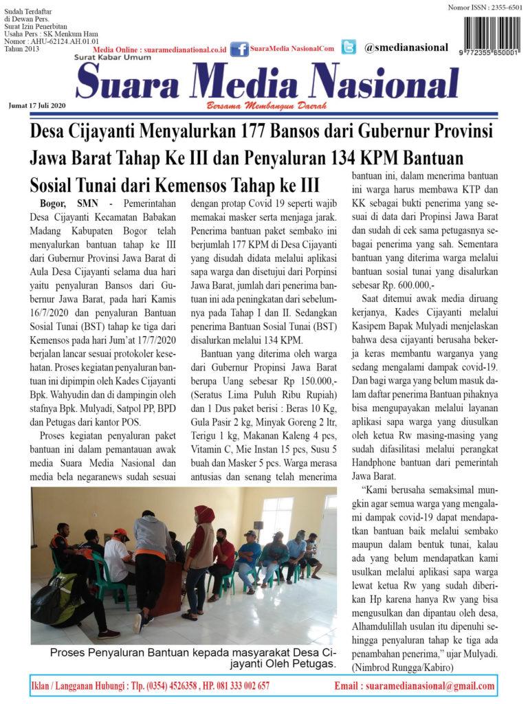 Desa Cijayanti Menyalurkan 177 Bansos dari Gubernur Provinsi Jawa Barat Tahap Ke III dan Penyaluran 134 KPM Bantuan Sosial Tunai dari Kemensos Tahap ke III