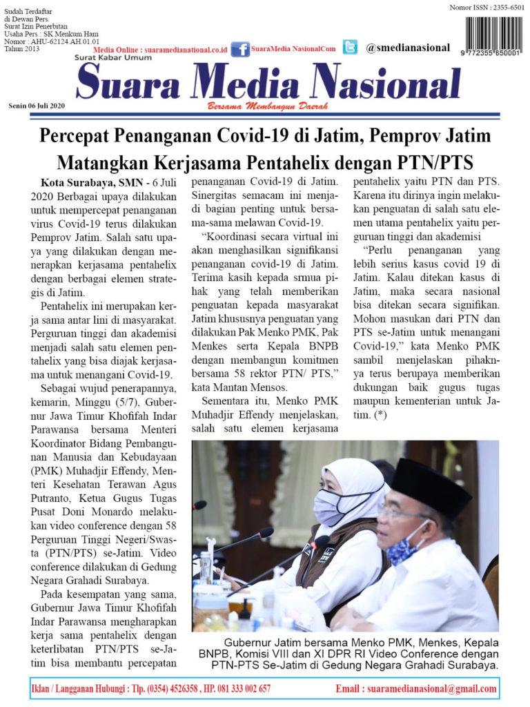 Percepat Penanganan Covid-19 di Jatim, Pemprov Jatim Matangkan Kerjasama Pentahelix dengan PTN/PTS