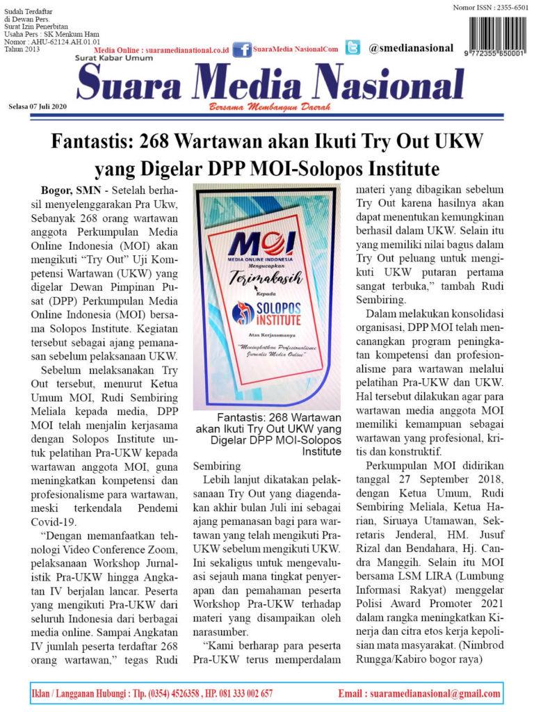 Fantastis: 268 Wartawan akan Ikuti Try Out UKW yang Digelar DPP MOI-Solopos Institute