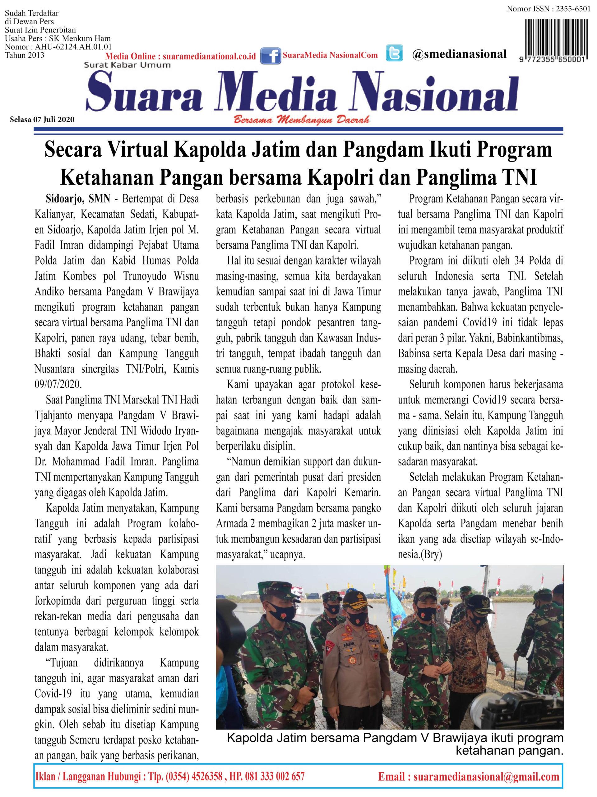 Secara Virtual Kapolda Jatim dan Pangdam Ikuti Program  Ketahanan Pangan bersama Kapolri dan Panglima TNI