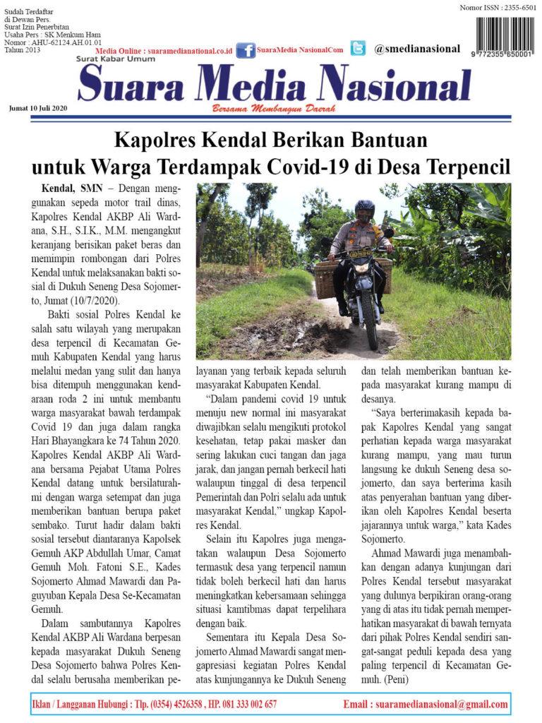 Kapolres Kendal Berikan Bantuan untuk Warga Terdampak Covid-19 di Desa Terpencil
