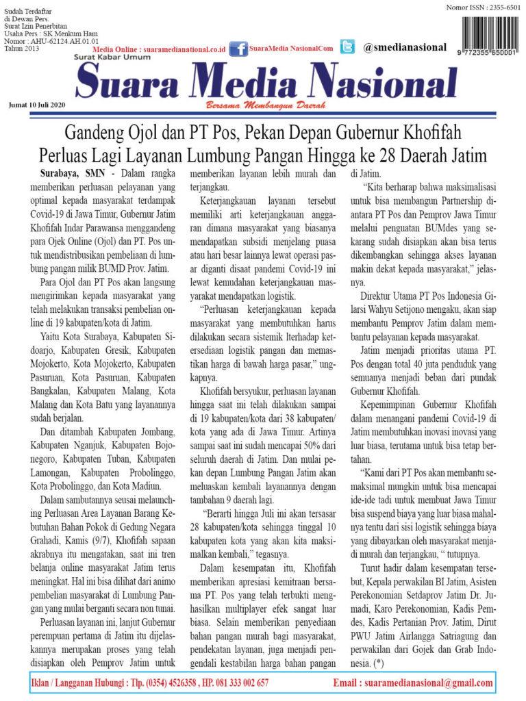 Gandeng Ojol dan PT Pos, Pekan Depan Gubernur Khofifah Perluas Lagi Layanan Lumbung Pangan Hingga ke 28 Daerah Jatim