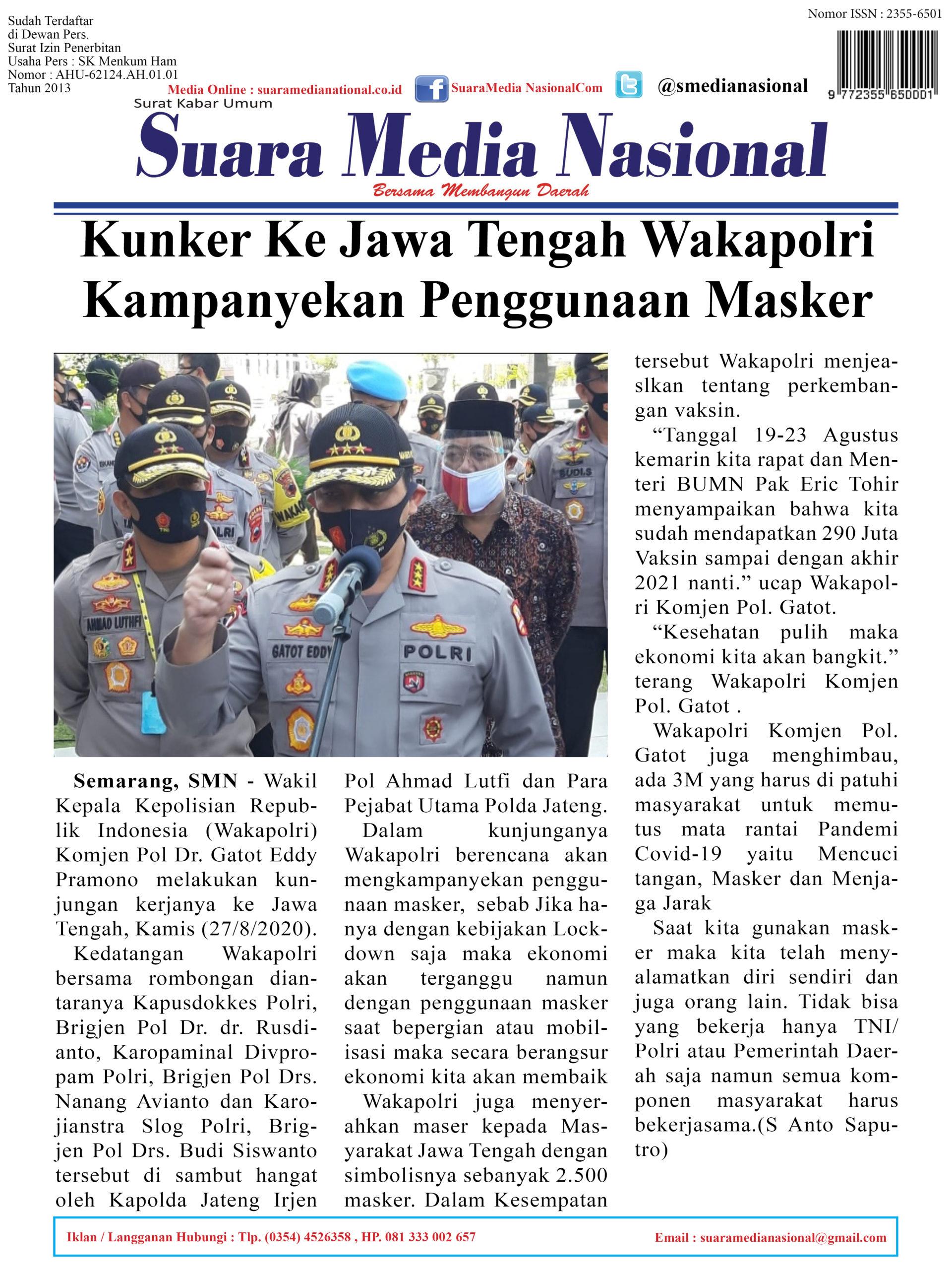 Kunker Ke Jawa Tengah Wakapolri Kampanyekan Penggunaan Masker